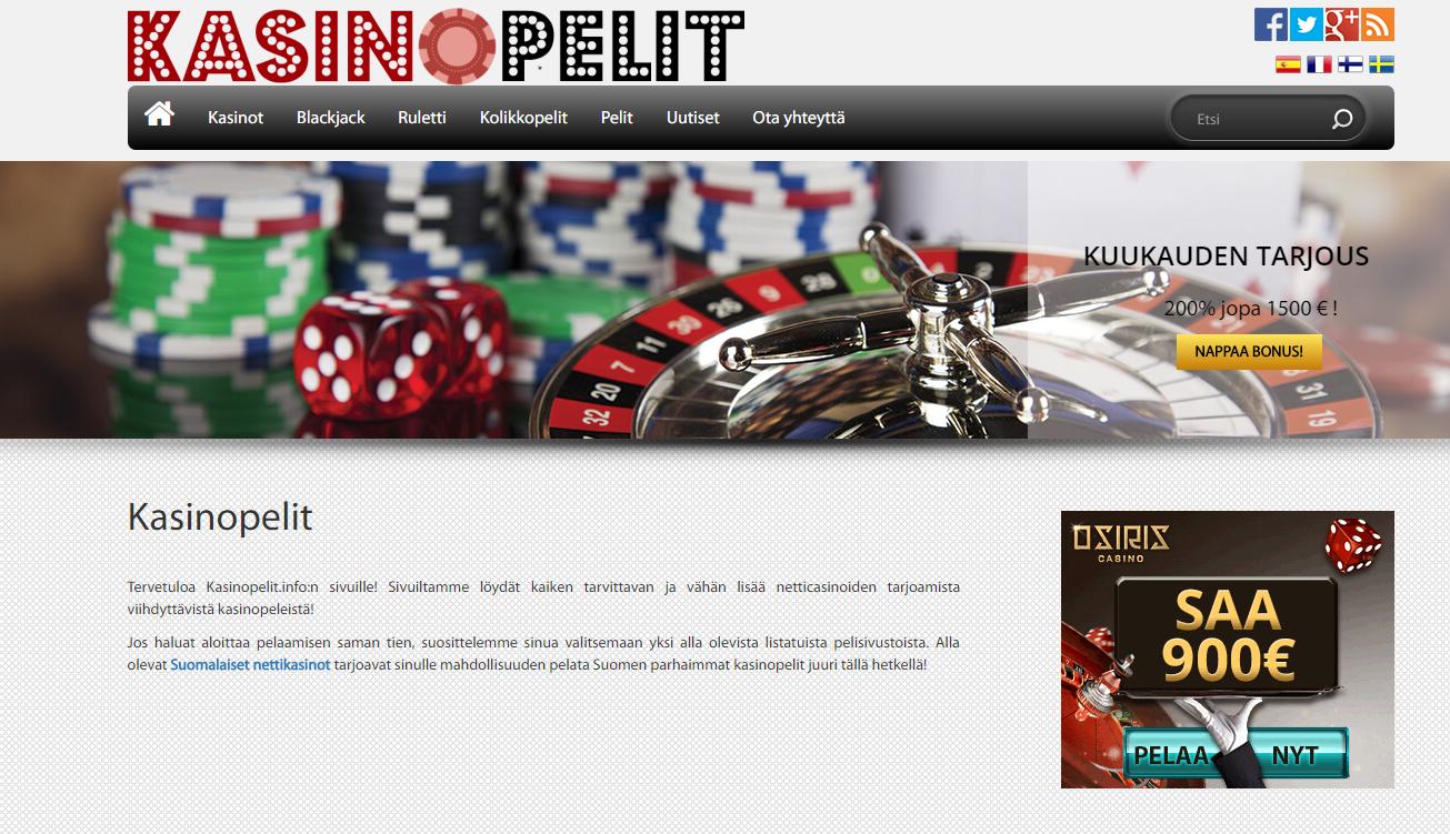 Tervetuloa Kasinopelit.info sivustolle