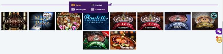 RoyalSpinz -kasinon pöytäpelivalikoima